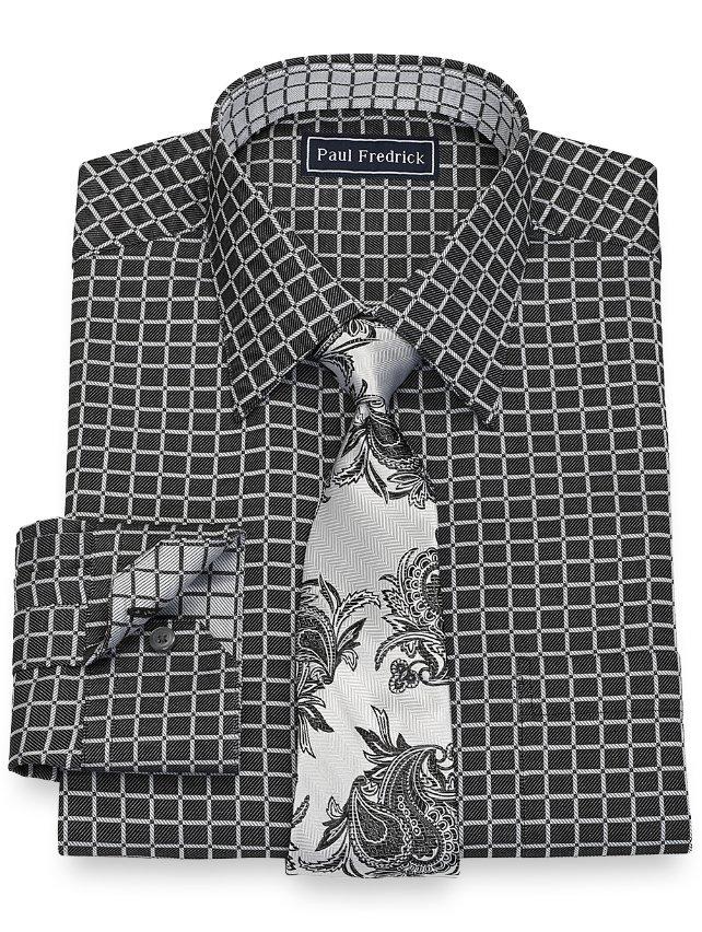 Slim Fit Cotton Windowpane Dress Shirt