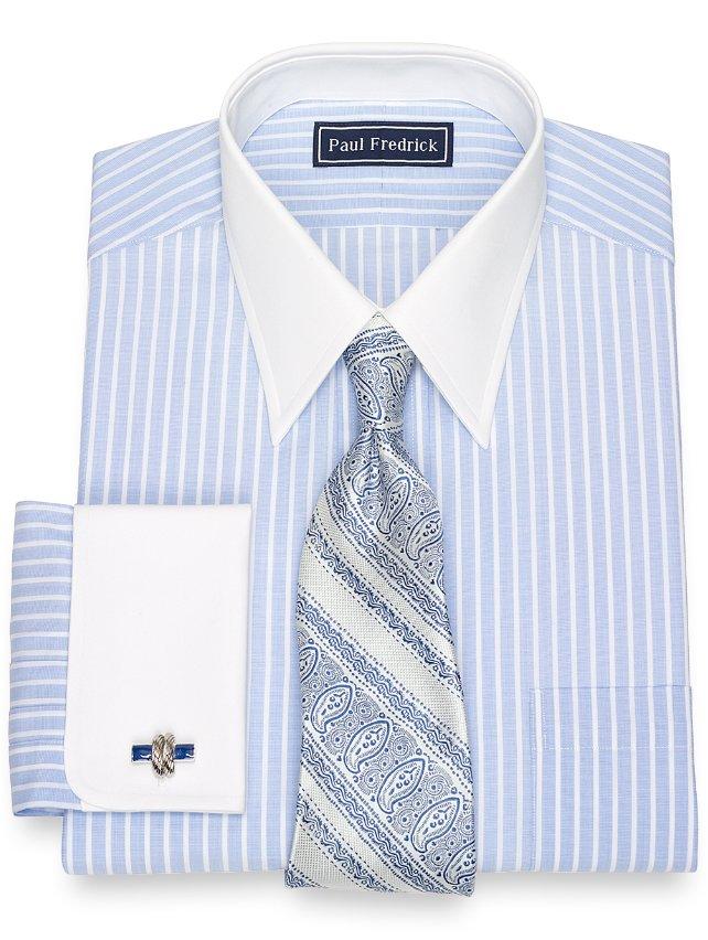 Cotton End-On-End Stripe Dress Shirt
