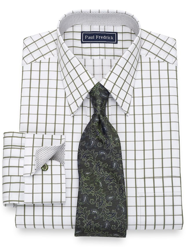 Slim Fit Cotton Windowpane Dress Shirt