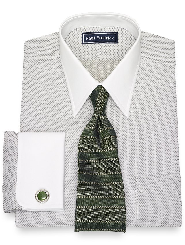 Slim Fit Cotton Dot Dress Shirt