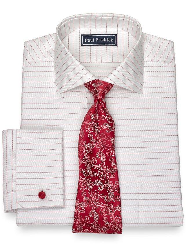 Slim Fit Cotton Horizontal Herringbone Dress Shirt