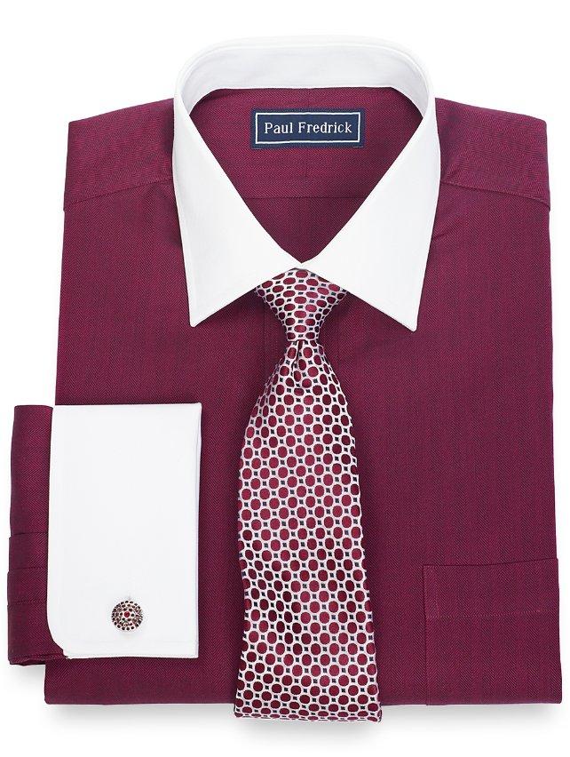 100% Cotton Herringbone Spread Collar French Cuff Dress Shirt