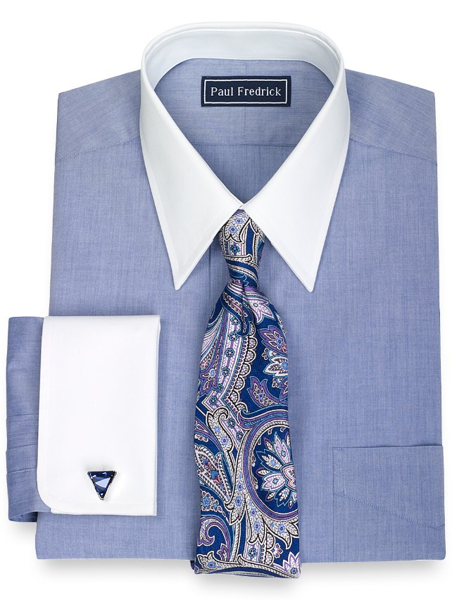 100% Cotton Solid Straight Collar French Cuff Dress Shirt