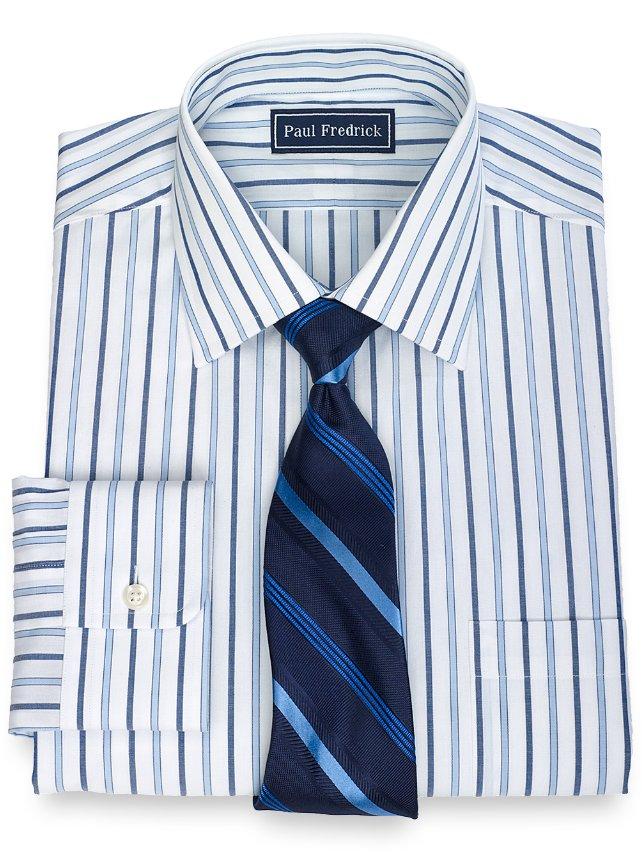 100% Cotton Alternating Stripe Spread Collar Dress Shirt