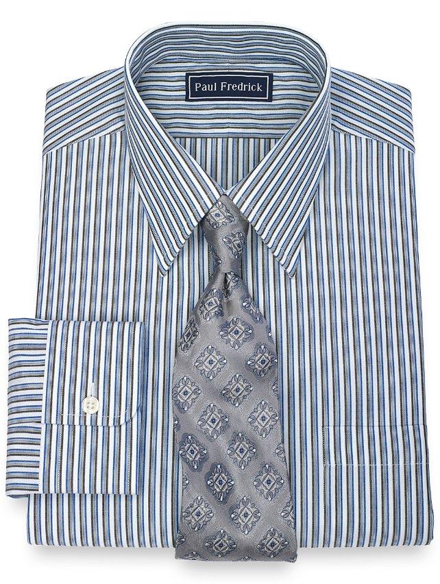 Slim Fit 100% Cotton Tread Stripe Straight Collar Dress Shirt