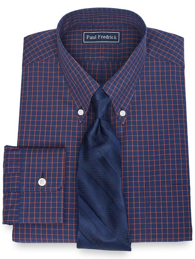 Slim Fit 100% Cotton Check Button Down Collar Dress Shirt