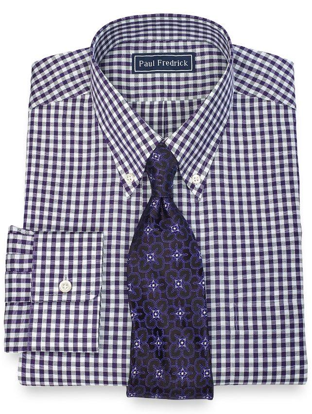 100% Cotton Gingham Button Down Collar Dress Shirt