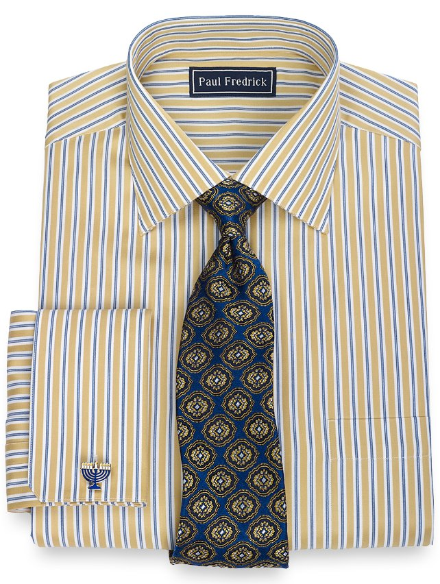 Slim Fit 2-Ply Cotton Alternating Stripe Spread Collar French Cuff Dress Shirt