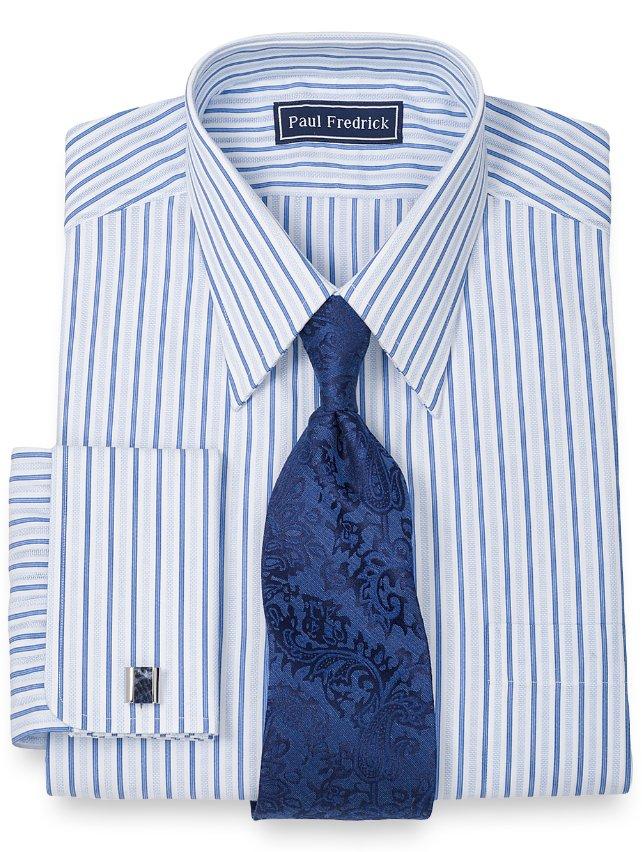Slim Fit 100% Cotton Textured Stripe Straight Collar French Cuff Dress Shirt