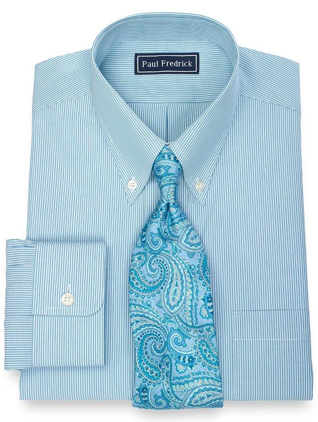 100% Cotton Fine Line Stripe Button Down Collar Dress Shirt
