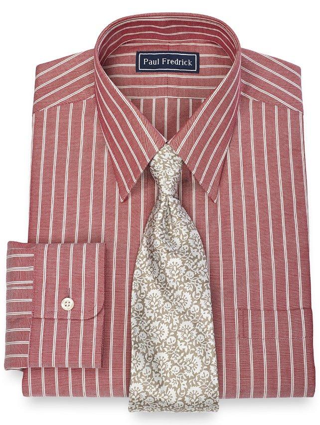 100% Cotton Twin Stripe Straight Collar Dress Shirt