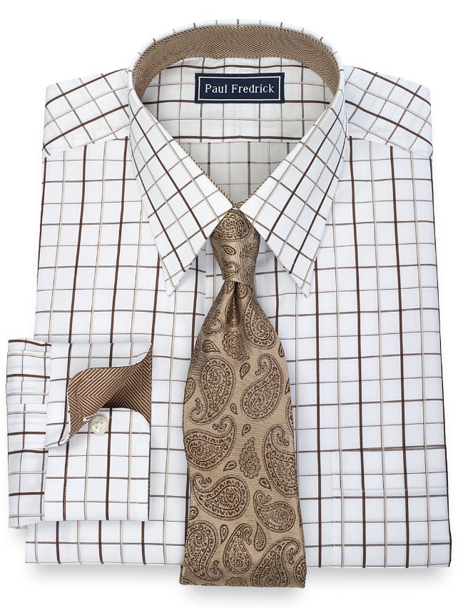 2-Ply Cotton Satin Windowpane Straight Collar Dress Shirt