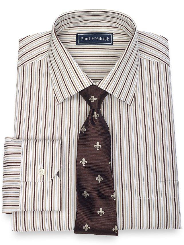 Slim Fit 2-Ply Cotton Alternating Stripe Spread Collar
