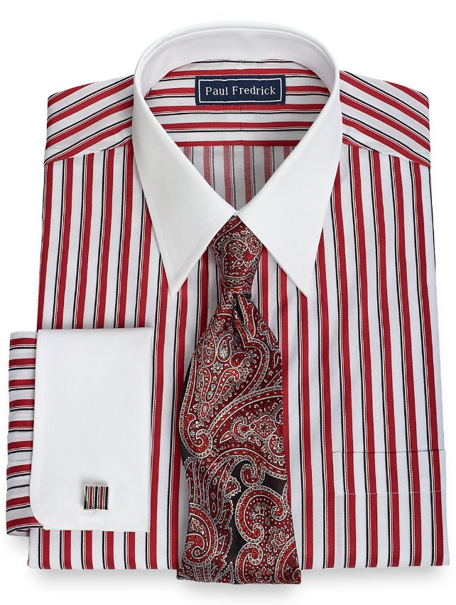 2-Ply Cotton Framed Stripe Straight Collar French Cuff Dress Shirt
