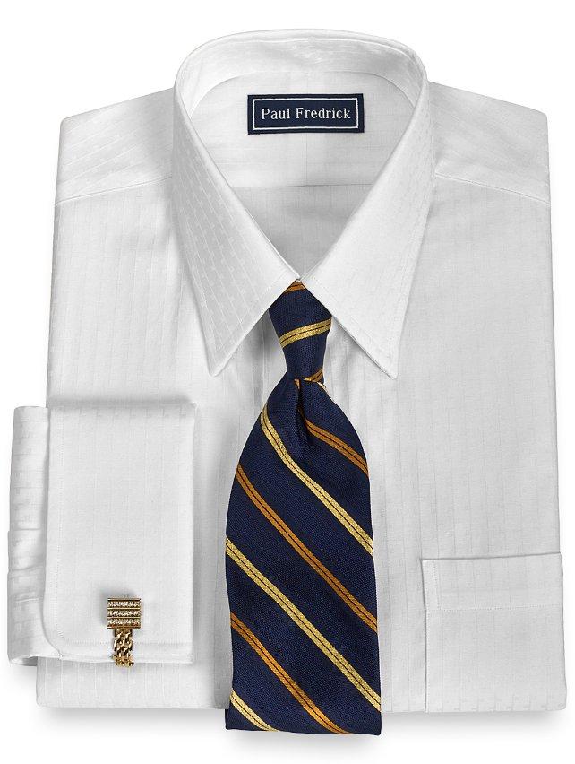 2-Ply Cotton Textured Stripe Straight Collar French Cuff Dress Shirt