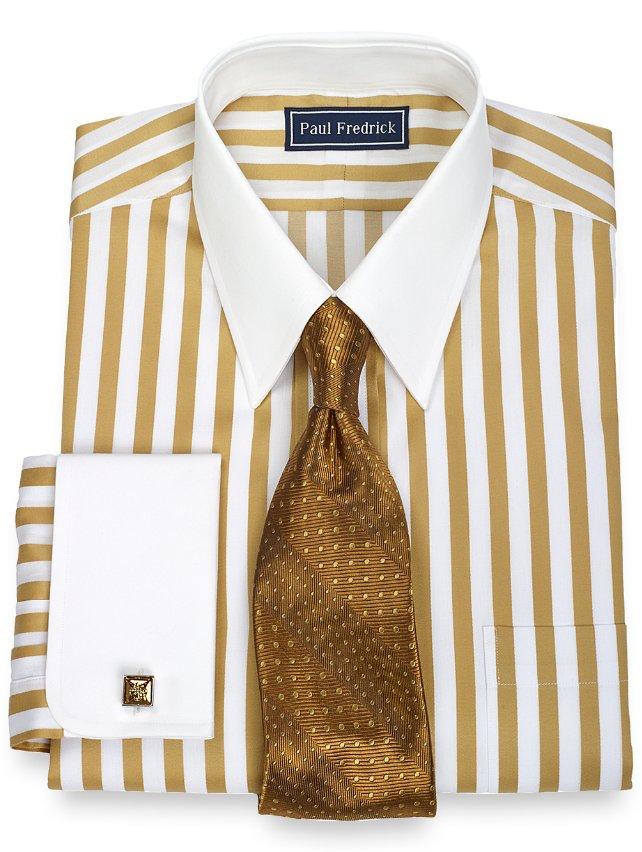 Slim Fit 2-Ply Cotton Bold Satin Stripe Straight Collar French Cuff Dress Shirt