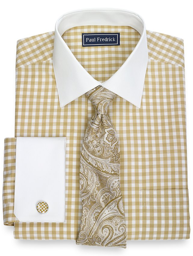 2-Ply Cotton Gingham Spread Collar French Cuff Dress Shirt