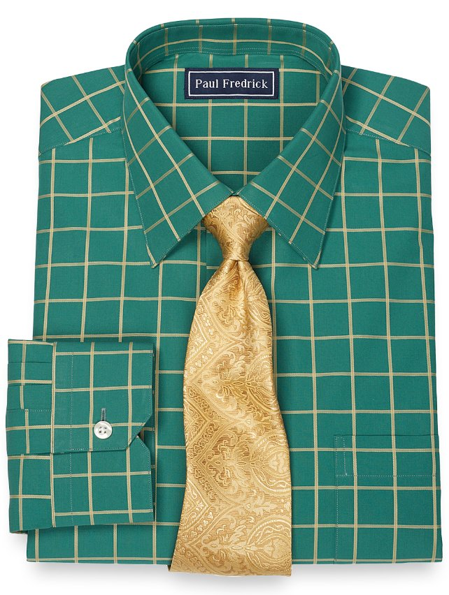 Slim Fit 100% Cotton Windowpane Spread Collar Dress Shirt