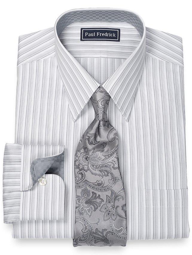 Slim Fit 100% Cotton Stripe Straight Collar Dress Shirt