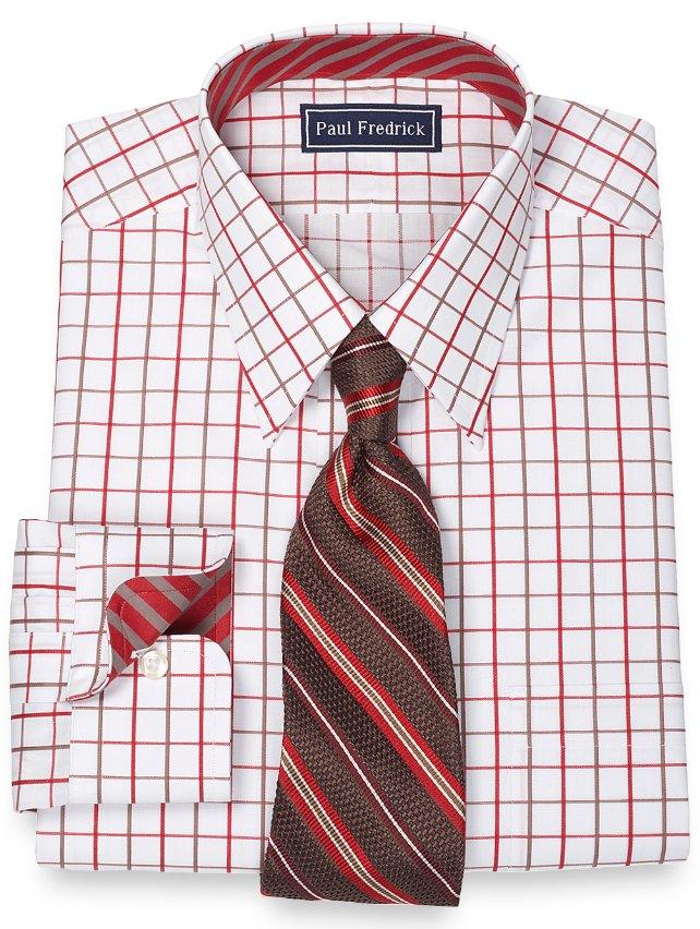 Slim Fit 100% Cotton Satin Grid Straight Collar Dress Shirt