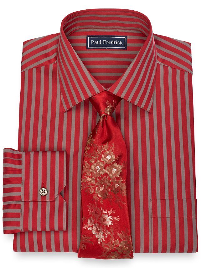 2-Ply Cotton Satin Stripe Spread Collar Dress Shirt