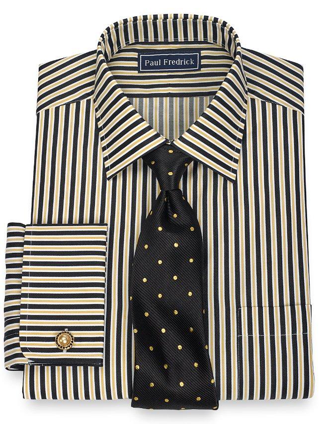 Slim Fit 2-Ply Cotton Alternating Stripe Spread Collar French Cuff Dress Shirt