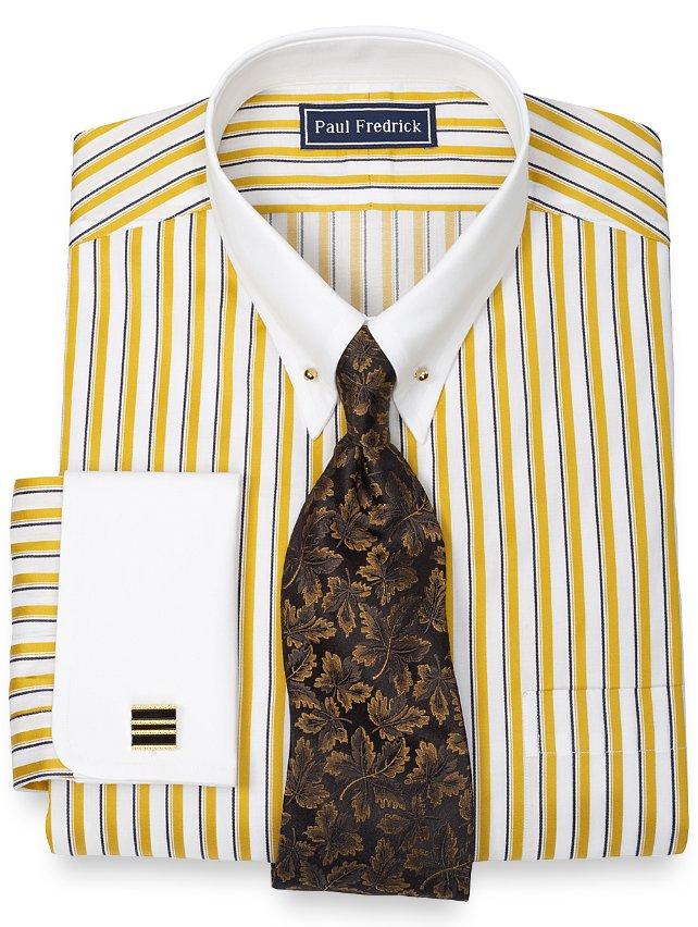 2-Ply Cotton Framed Stripe Eyelet Collar French Cuff Dress Shirt