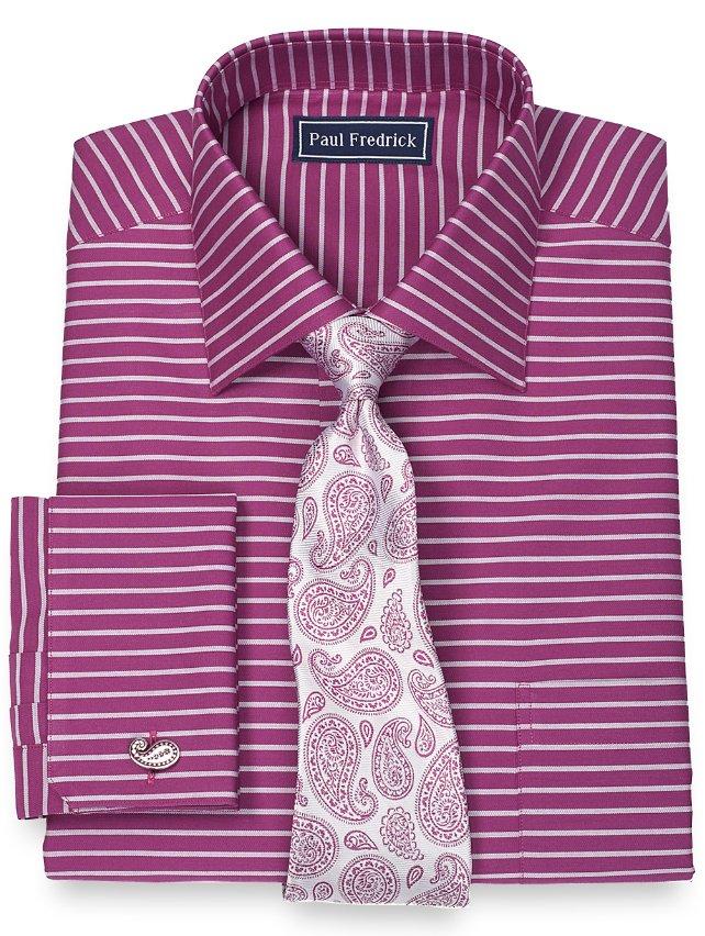 Slim Fit 100% Cotton Horizontal Stripe Spread Collar French Cuff Dress Shirt