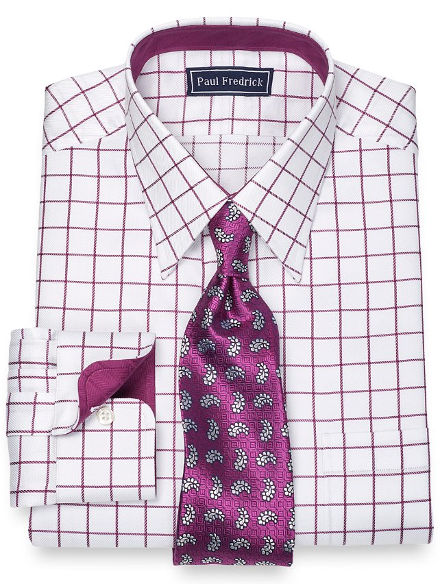 Slim Fit 2-Ply Cotton Satin Rope Grid Straight Collar Dress Shirt