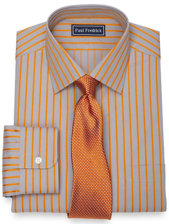Slim Fit 2-Ply Cotton Satin Stripe Spread Collar Dress Shirt