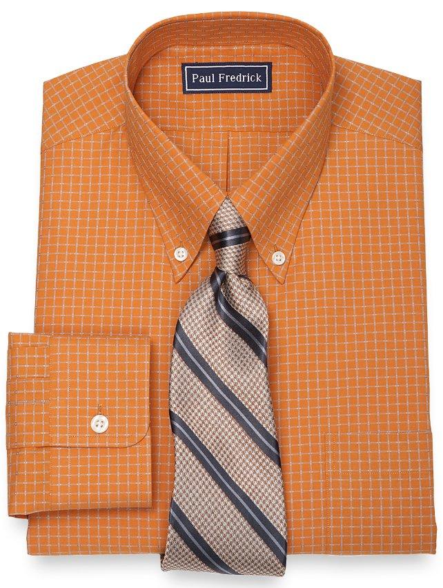 2-Ply Cotton Check Button Down Collar Dress Shirt