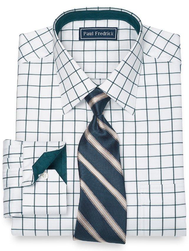 Slim Fit 2-Ply Cotton Satin Rope Grid Spread Collar Dress Shirt