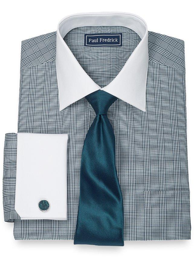 100% Cotton Glen Plaid Spread Collar French Cuff Dress Shirt