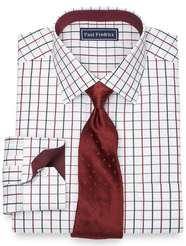 Slim Fit 100% Cotton Satin Windowpane Spread Collar Dress Shirt