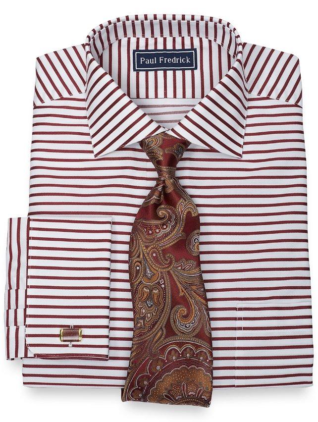 100% Cotton Horizontal Stripe Spread Collar French Cuff Dress Shirt