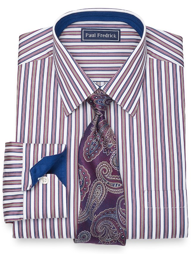Slim Fit 2-Ply Cotton Alternating Stripe Spread Collar Dress Shirt