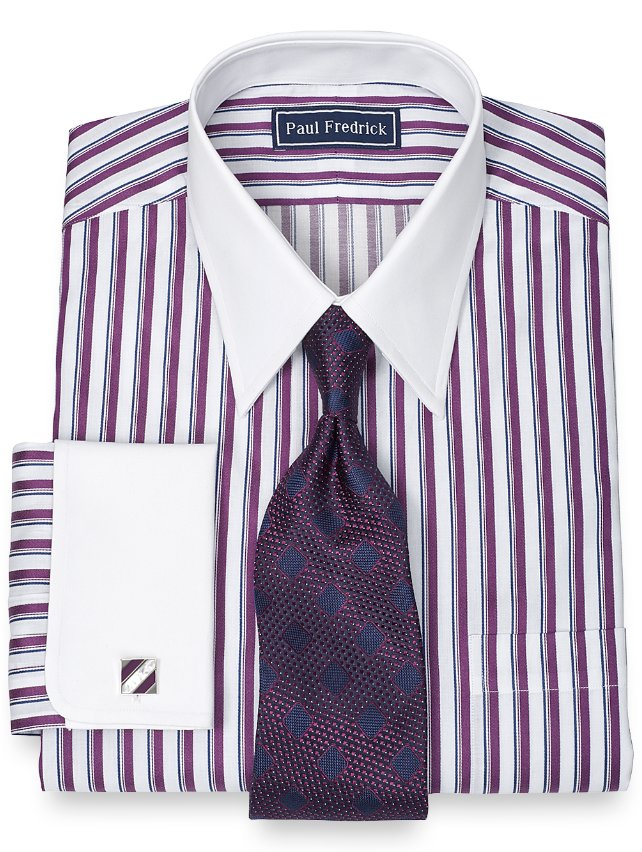 2-Ply Cotton Framed Stripe Straight Collar French Cuff Dress Shirt