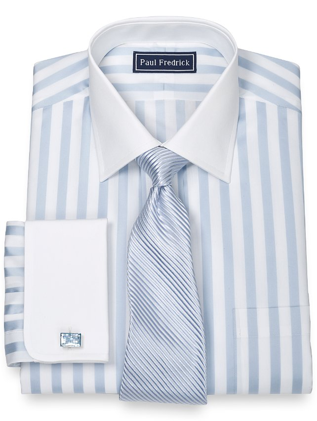 Slim Fit Egyptian Cotton Satin Stripe Spread Collar French Cuff Dress Shirt