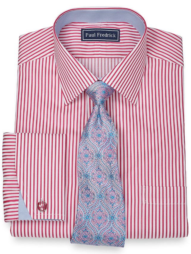 Slim Fit Egyptian Cotton Fine Line Stripe Spread Collar French Cuff Dress Shirt