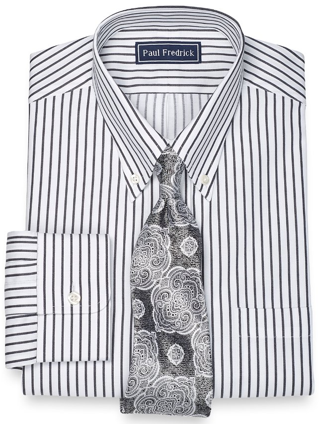 Slim Fit 2-Ply Cotton Pinpoint Rope Stripe Button Down Collar Dress Shirt