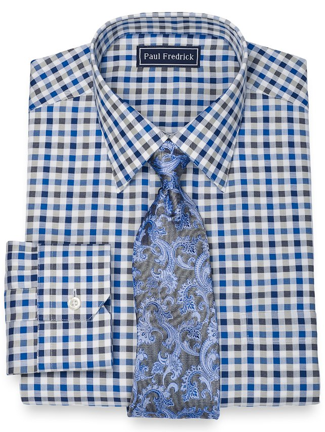 Slim Fit Italian Cotton Gingham Spread Collar Dress Shirt