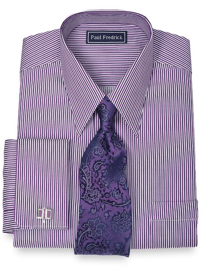 Slim Fit 100% Cotton Alternating Stripe Straight Collar French Cuff Dress Shirt