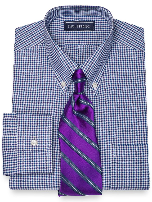Slim Fit 100% Cotton Mini Check Button Down Collar Dress Shirt