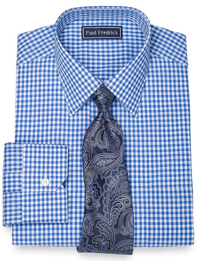 100% Cotton Gingham Spread Collar Dress Shirt