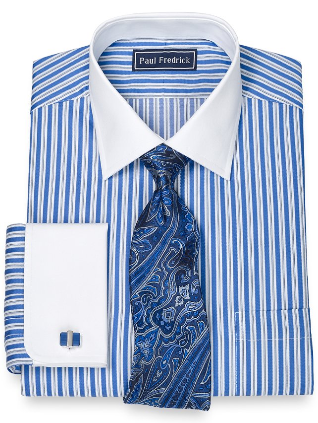 Slim Fit 100% Cotton Alternating Stripe Spread Collar French Cuff Dress Shirt