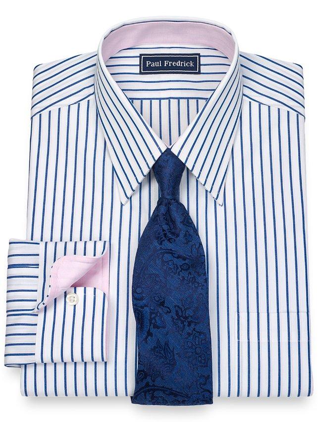 100% Cotton Shadow Stripe Straight Collar Dress Shirt
