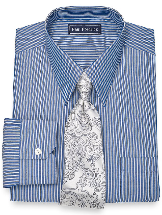 Slim Fit 100% Cotton Twin Stripe Straight Collar Dress Shirt