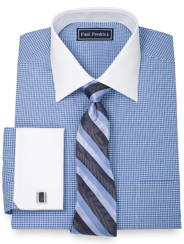 100% Cotton Mini Gingham Spread Collar French Cuff Dress Shirt