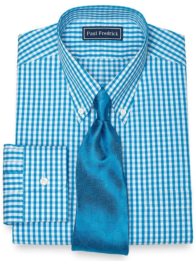 100% Cotton Check Button Down Collar Dress Shirt