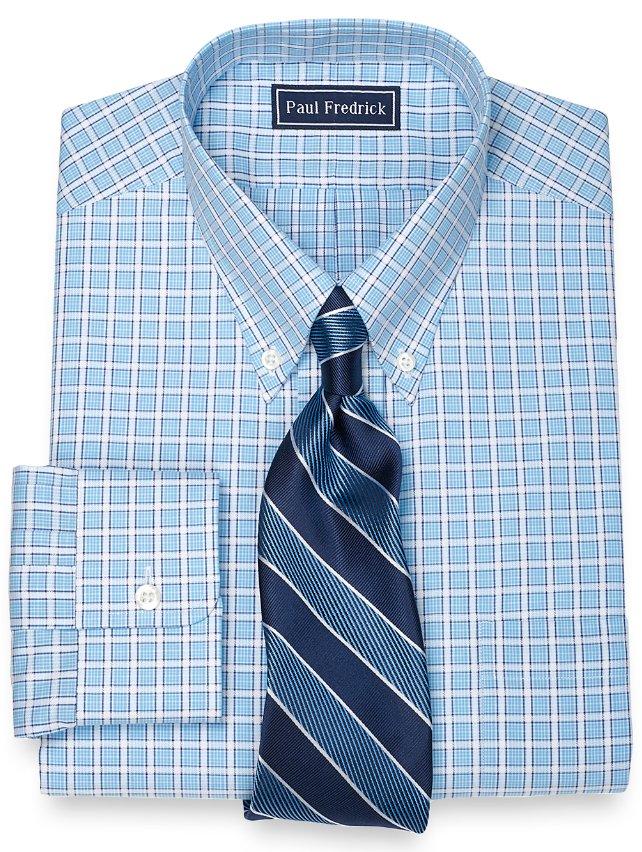 Slim Fit 100% Cotton Windowpane Button Down Collar Dress Shirt